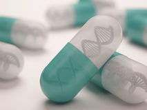 DNA Pill. Pill with a dna inside. Concept in genetic breakthrough in drug development Royalty Free Stock Images