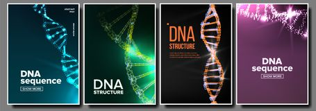 Dna Poster Set Vector. Biotechnology Concept. Science Background. Strand, Sequence. Chemistry Cover. Laboratory Design royalty free illustration