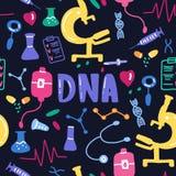 DNA que pone letras al modelo inconsútil Backgr médico científico del vector ilustración del vector