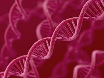 DNA on red background Stock Images