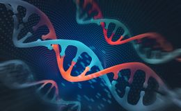 DNA research molecule. 3D illustration. Analysis of structure human genome stock illustration