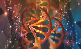 DNA. Research molecule. Scientific breakthrough in human genetics. 3D illustration analysis of structure genome stock illustration