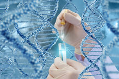 DNA research with a sample. Hand with a test tube on a DNA background royalty free stock photography