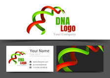Dna Ribbon Corporate Logo and Business Card Sign Template. royalty free illustration