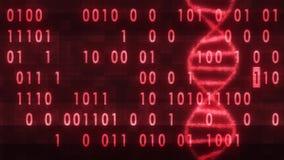 DNA ruszać się po spirali molekułę wiruje na cyfrowy binar kod glitched interferencja hałasu animacji parawanowego tła nowej iloś royalty ilustracja