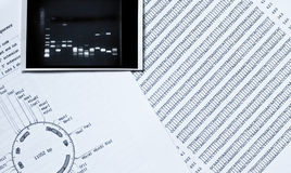 DNA sequence, electrophoresis photo and a restrict. Ion map Stock Photography