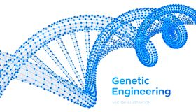 DNA sequence. Wireframe DNA molecules structure mesh. DNA code editable template. Science and Technology concept. Vector stock illustration
