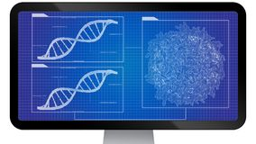 DNA sequencing blueprint RNA sequencing DNA computational models Royalty Free Stock Image