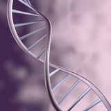 DNA shiny helix and blurred purple violet background. Royalty Free Stock Photos