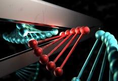 DNA sneed het gebrekkige gen door een schaar 3d illustratie Stock Foto