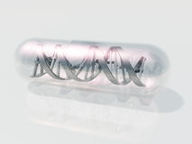 DNA Capsule. DNA Spiral in clear Capsule Royalty Free Stock Photo