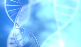 DNA stand helix light blue background. Royalty Free Stock Images