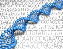 DNA strand blue model. Royalty Free Stock Images