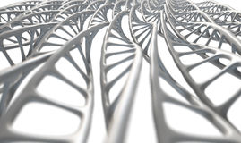 DNA Strand Micro. A microscopic view of asequenced pattern of DNA styled strands in a generic white color on an isolated background Stock Image