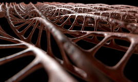 DNA Strand Micro. A microscopic view of sequenced pattern of DNA style strands of flesh on an isolated background stock photo
