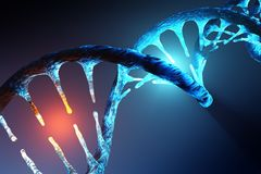 DNA strand modification. Conceptual image of human DNA illustrating targeted alteration, manipulation or modification. 3D rendering artwork Stock Photography