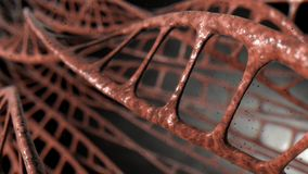 DNA Strands Micro. A microscopic view of sequenced pattern of DNA style strands of flesh on an isolated background - 3D render stock illustration