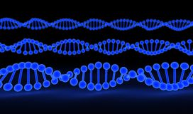 DNA Strands over black background Stock Photo