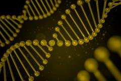 DNA-Strang auf schwarzem Hintergrund Stockbilder