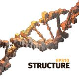 DNA structure. 3d  abstract background. Cube elements. Boxes system Royalty Free Stock Photos