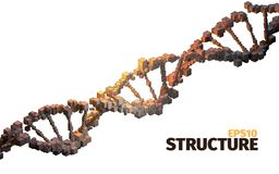 DNA structure. 3d  abstract background. Cube elements. Science item Royalty Free Stock Image