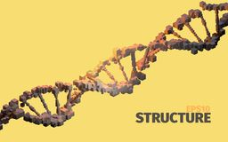 DNA structure. 3d abstract background. Cube elements. Web banner vector illustration