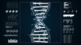 DNA structure 3D animation for medical research and biology genetic laboratory study