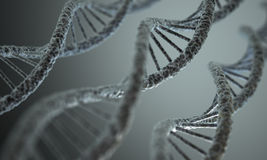 DNA Structure. Long structure of the DNA double helix in depth of view stock image