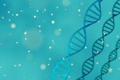 DNA-Struktur, blauer abstrakter Hintergrund mit copyspace Stockfotografie