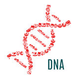 DNA symbol wektorowi serca i krew royalty ilustracja