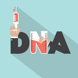 DNA With Syringe Typography Design Royalty Free Stock Image