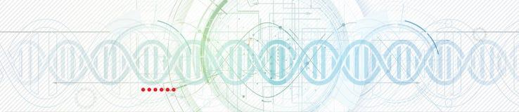 DNA:t gör sammandrag symbolen och beståndsdelsamlingen futuristic teknologi Arkivbilder