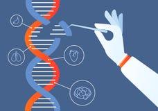Dna-teknik Genomcrispr cas9, ändring för kod för genmutation Mänskliga biokemi och kromosomer forskar vektorn vektor illustrationer