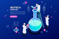 DNA und blauer Wissenschafts-Hintergrund lizenzfreie abbildung