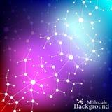 DNA van de moleculestructuur en communicatie achtergrond Verbonden lijnen met punten Concept de wetenschap, verbinding Stock Foto's