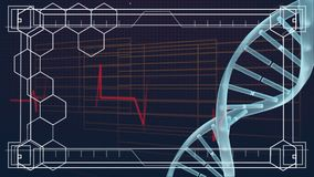 DNA wiruje z bicie serca linią royalty ilustracja