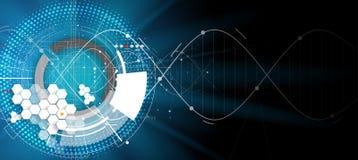 DNA-Zusammenfassungsikone und Elementsammlung Futuristische Technologie Lizenzfreies Stockfoto