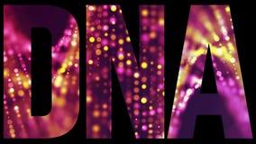 DNAbiokemititeln med en dubbel spiral fyllde text arkivfoto