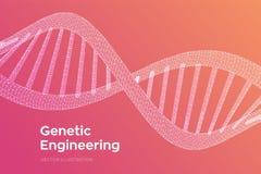 DNAf?ljd Genom f?r bin?r kod f?r begrepp m?nsklig Ingrepp f?r struktur f?r Wireframe digitalt DNAmolekylar Konstgjord intelegence royaltyfri illustrationer