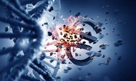 DNAmolekyl och eurotecken Royaltyfri Fotografi