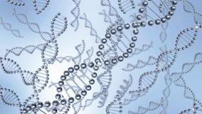 DNAmolekylkedjor som svävar i vatten arkivfoto