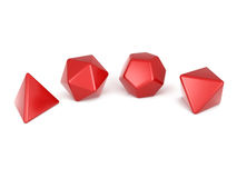 Dnd dice, Platonic solids. Red Platonic solids isolated on white Royalty Free Stock Photos