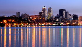 Dnepr city view  at night, lights reflected on the river Dnieper, Ukraine Royalty Free Stock Photography
