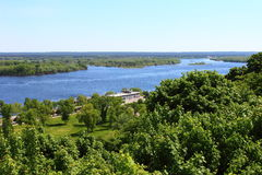 Dnepr in Kanev. On the background of trees Dnipro River Royalty Free Stock Images
