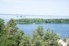 Dnepr River. On a summer sunny day. Cherkassy. stock photo