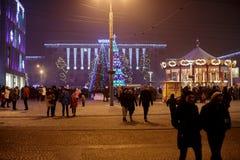 Dnepr, Ucrania - 1 de enero de 2017: Ciudad de la Navidad con li festivo Foto de archivo