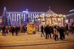 Dnepr, Ucrania - 1 de enero de 2017: Ciudad de la Navidad con li festivo Fotografía de archivo
