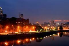 Dnepr Ukraina, sikt av staden i afton Arkivfoto