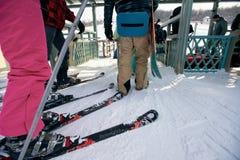 Queue to ski lift Stock Image