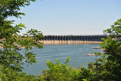 Dneproges. Hydroelectric power station on the Dnieper River near Zaporozhe Ukraine Royalty Free Stock Photos